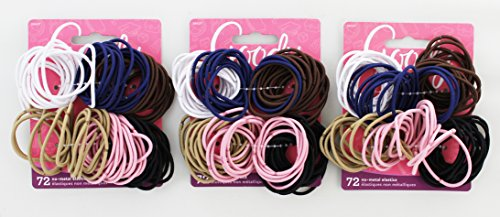 Goody - Ouchless No Metal Gentle Elastics, Assorted Colors, 72 pack (4-Pack) by Goody