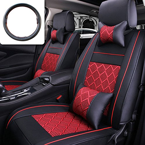 (Fly5D 10Pcs PU Leather Ice Silk Black/Red for for Universal 5 Seat Car Four)
