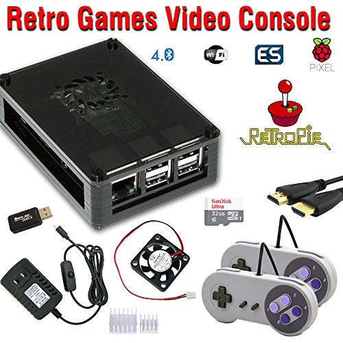 RetroBox - Raspberry Pi 3 Based Retro Game Console, RetroPie 32GB Edition with heatsinks and Cooling Fan Installed by Crisp Concept Ltd.