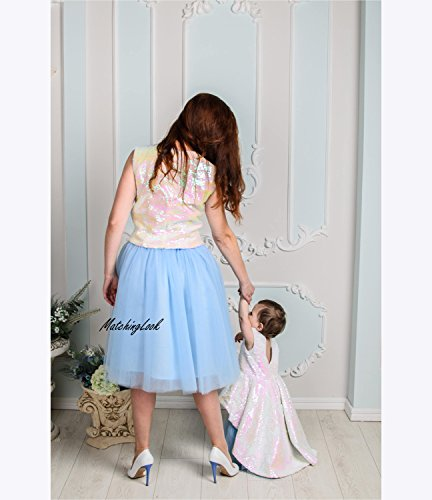 Pink Blue Mother Daughter Matching Dress, Tulle Mommy and Me Outfit, Mommy and Me Tutu Dress, Birthday Party Wedding Reversible Sequin Dress