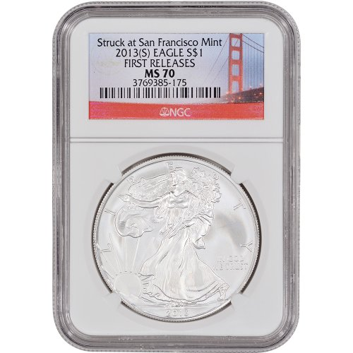 2013 (S) American Silver Eagle First Releases Golden Gate Label $1 MS70 NGC