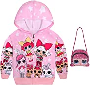 Little Girls Zip Up Hoodies Kids Cartoon Jacket Toddler Sweatshirt with Cute Handbag