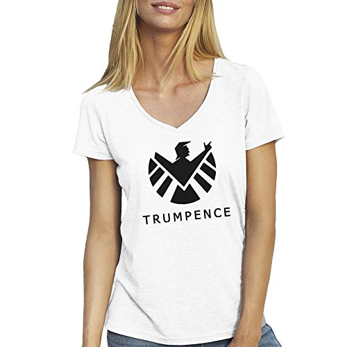 Donald Trump Pence Fun Agents Of Shield BW T-Shirt camiseta Cuello V para la Mujer Blanca