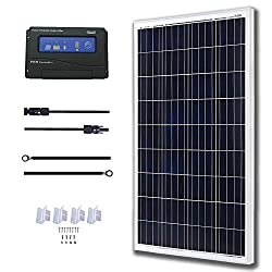 KOMAES 100 Watts 12Volts Polycrystalline Solar Panel with Energy-efficient Tech Kit Includes 20Amp PWM Solar Charge Controller, 20ft Tray Cable, 20ft MC4 Cable, Mounting Z Brackets