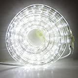 24 Ft. Plugin Rope Lights, 287 Cool White LEDs, Connectable, Dimmable, Waterproof, Indoor/Outdoor Use, Ideal for Backyards, Weddings and Christmas Decor