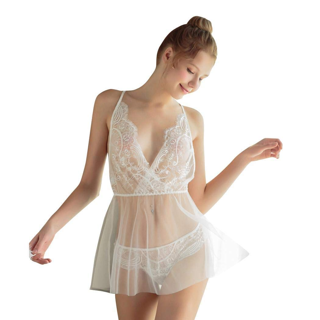 Jinguio Women Sexy Lace Lingerie Sets Bustier Teddy Bodysuit Perspective Short Nightdress with Panties White