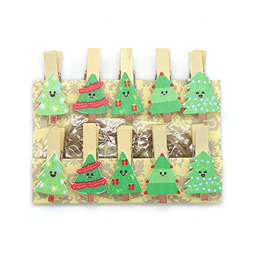 1pack 3.5X2cm Christmas tree Wooden Clip Hemp Rope Photo Paper Craft For Album (Style 6) Christmas Tree Pin Book