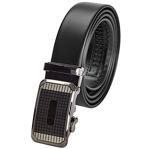Mens Ratchet Dress Slide Belt For Men - Genuine Leather, Black & Brown. -Checkered Onyx 44-56 Adjustable Automatic Click Buckle by Indigo Station