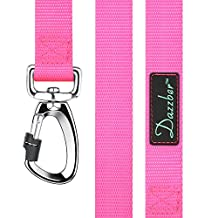 Heavy Duty Dog Leash Tough Dog Walking Leash for Small/Medium/Large Dogs,6 Ft and 5 Ft Length Avaliable.Nylon Pink Strong Leashes By Dazzber