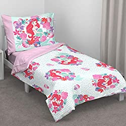 Disney Ariel Sea Garden 4 Piece Toddler Bed Set - Comforter, Fitted Sheet, Flat Top Sheet, Reversible Standard Size Pillowcase, Pink and Aqua, Pink, Aqua, Orange, White