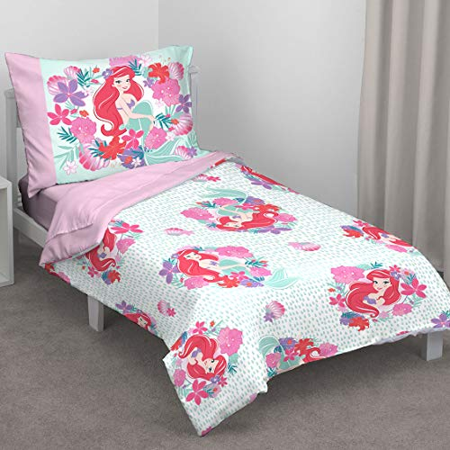 Disney Ariel Sea Garden 4 Piece Toddler Bed Set, Pink and Aqua/Orange/White