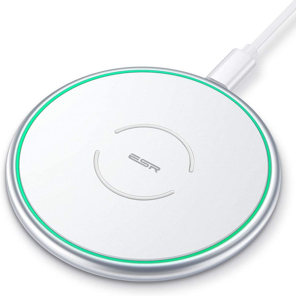 [Upgraded] ESR Wireless Charger, Metal Frame Ultra-Thin Fast Charging Pad, 7.5W for iPhone 12/Mini/Pro/Pro Max/11/SE, 10W Fast Charging for Galaxy S20/S20 Ultra/Note10, Pixel 3/4, Silver