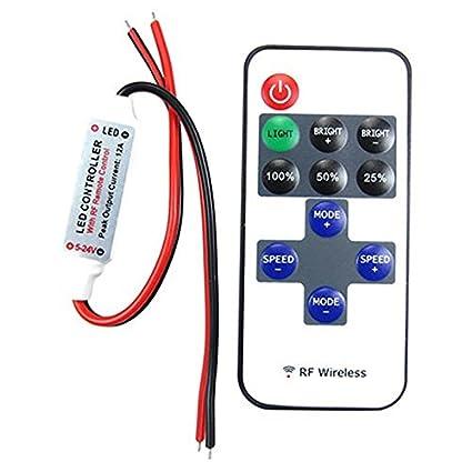 CIRCUIT SYSTEMS 12 V 11 Keys RF Remote Controller Mini Dimmer for Single Colour LED Strip (Multicolour, 10x10x10 cm)