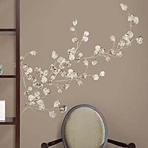Amazoncom roommates rmk1677gm silver dollar branch peel for Inspiring dollar tree wall decals