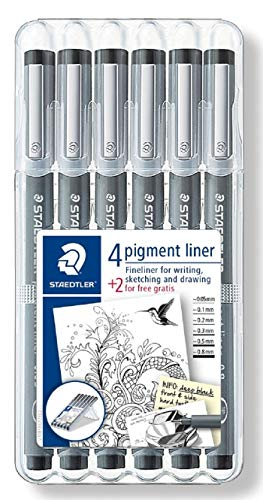 Staedtler Pigment Liner Bonus Sketch Set of 6 Liners for the Regular Price of 4(2 free), 308 SB6P (Liner Staedtler Pigment)