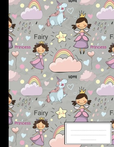 Cute Fairy Tale Princess with Unicorn: Composition Notebook: College Wide Ruled Writer's Notebook for School / Teacher / Office / Student: ... Ruled Composition School Notebook) (Volume 4)