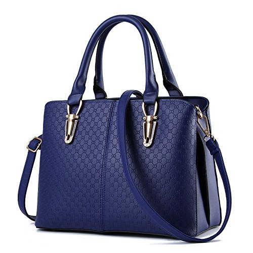 NICOLE&DORIS 2018 Women Handbags PU Leather Shoulder Bags Top-Handle Satchel Tote Bags Purse(Sapphire)