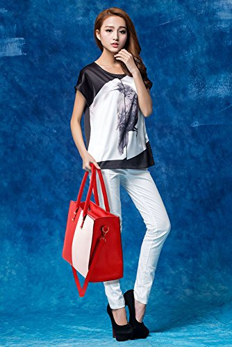 Shoulder 1 Design White Extra Women Large Designer New Tote Leather Handbag With Red Strap Female Bag For Ladies Faux wqIS1