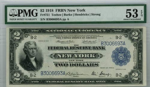 1914 New York FR#751 US Federal Reserve Bank Note $2 AU-53 ()