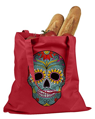 The T-shirt Press Day Of The Dead Mexican Mask Tote Bag (Red) (Mexican Day Of The Dead Mask)