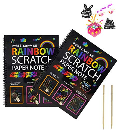 2 Packs Art Activity Books,Mega Value 20 Sheets Scratch Art Paper / Doodle Pad (10.2 x 7.5),Fun Art Stuff for Kids