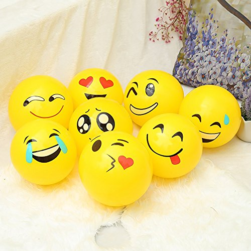 Bling Beauty Shop Inflatable Beach Balls 12 Pack Emoji Party Supplies For Kids