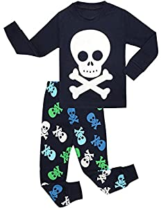 Boys Pajamas Skeleton Glow-in-the-dark Cotton Toddler Pjs Kids Sleepwear