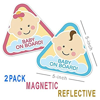 New: Baby on Board Magnetic and Reflective Sign for Boy or Girl for Car (2 Pack)