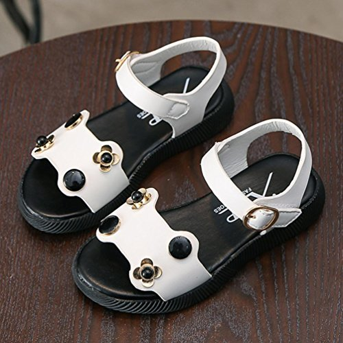 Prevently Mädchen Sandalen Mädchen-Blumen-Prinzessin Shoes Flachen Sandalen Baby Kinder Fashion Sneaker Kinder Jungen Mädchen Sommer Casual Sandalen Schuhe Weiß