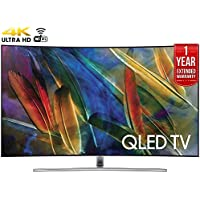 Samsung QN65Q7CAMFXZA Curved 65 4K Ultra HD Smart QLED TV (2017 Model) + 1 Year Extended Warranty (Certified Refurbished)