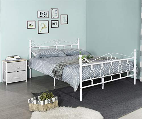 GreenForest Bed Frame Queen with Wooden Slats Support Metal Platform Bed Base with Headboard and Footboard No Box Spring Needed, White