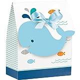 Creative Converting 324420 Paper Ribbon Lil' Spout Blue Favor Bag, 4 x 3.5 x 1.5