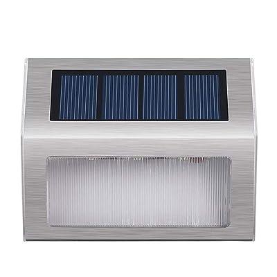WFTD Solar Step Lights 2-Pack LED en Acier Inoxydable Solar Powered Intempéries Éclairage Extérieur pour Marches Escaliers Chemins Patios Terrasses