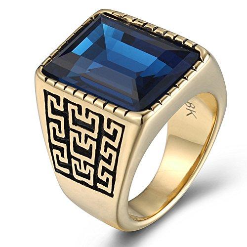JAJAFOOK Men's 18K Gold Plated Vintage Great Wall Pattern Square Blue Diamond CZ Signet Ring