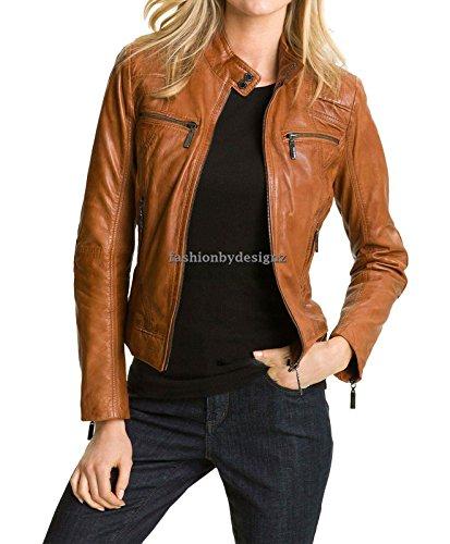 Women's Stylish Lambskin Genuine Leather Jacket WJ01 Medium - Jacket Leather Camel