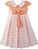 Sunny Fashion JT47 Girls Dress Polka Dot School Bow Tie Pearl Cap Sleeve Size 12
