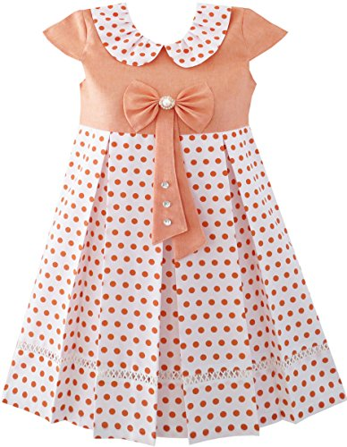 School Girls Dot Dress Pearl Cap 14 Years Tie Bow Polka Size Sleeve Orange 4 Uniform grrtq