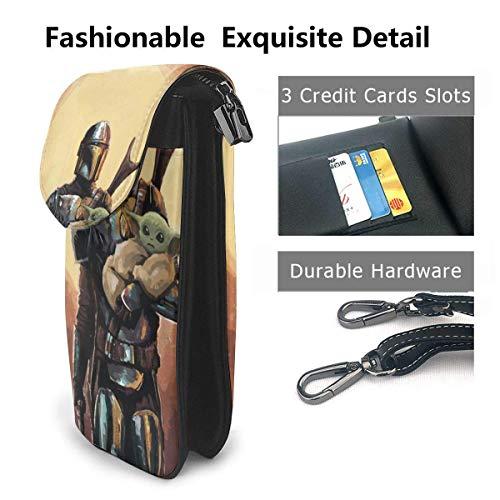 Hdadwy mobiltelefon crossbody väska film mandalorian kvinnors crossbody handväskor handväska lätta väskor läder mobiltelefon hölster plånbok fodral axelväskor med justerbar rem