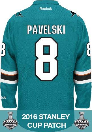 Joe Pavelski San Jose Sharks 2016 Stanley Cup Patch Reebok Premier Home NHL Jersey