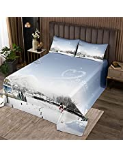 Erosebridal Christmas Bedspread, for Boys Girls Kids Santa Claus Gifts, Merry Christmas Theme Quilted Coverlet for Family Adult New Year Bedroom Home Decor, Snowflake Elk Print Coverlet Set