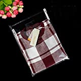 J-Beauty 17.5 x 13.5 Inch Clear Apparel Bags Self Seal Flap for T-shirt,Clothes,Party Wedding Gift Bags (100 Pcs)