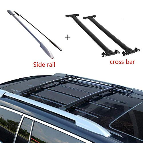 - ANTS PART 4Pcs Roof Rack for 2008-2013 Toyota Highlander Side Rails + Cross Bars Black Pair Set