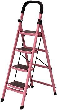 Gjrff Escalera de 4 peldaños Escalera de aluminio Escalera de cocina plegable Escalera telescópica gruesa for el hogar (Size : Pink): Amazon.es: Bricolaje y herramientas