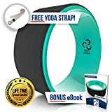Ultimate Dharma Yoga Wheel Prop with BONUS eBook & FREE Extra Yoga Strap By Pete's Choice – Superior-Quality PC Material, Comfortable & Durable Yoga Balance Accessory, Increase Precision & Flexibility