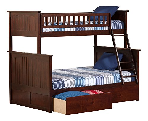 Atlantic Furniture Nantucket Bunk Bed with 2 Flat Panel Bed Drawers, Twin Over Full, Antique Walnut (2 Youth Drawer)