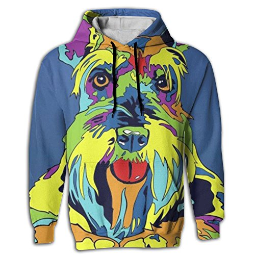 (Multi-Color Schnauzer Dog Men's Hoodie Sweater 3D Printed Fashion Athletic Pullover Hooded Sweatshirt)