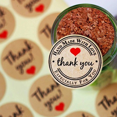 Abbonna Thank You Round Kraft Paper Stickers Labels with Red Heart for Packaging Seals Crafts Wedding Favor Tag Toppers Pack of 120 PCS/10 sheets, Unique Design Gift Stickers Cake Pops Bakery Stickers