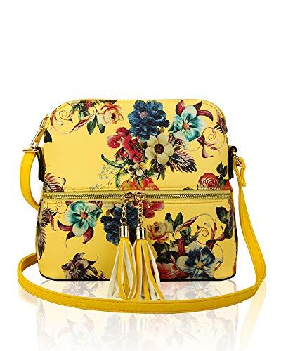 With Handbag Yellow Redfox Floral Tassel Women's x Crossbody Shoulder Small 20cm x Print Bag 21cm 9cm XX6T1qU