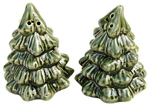Holiday Evergreen Trees Salt and Pepper Shaker Set Ceramic (Salt Evergreen)