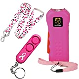 College Safety Bundle: Trigger 18 MIL Stun Gun, Sabre Personal Alarm and a 36 Inch Breakaway Polka Dot Lanyard - Lot of 3 as Shown (Trigger Pink)